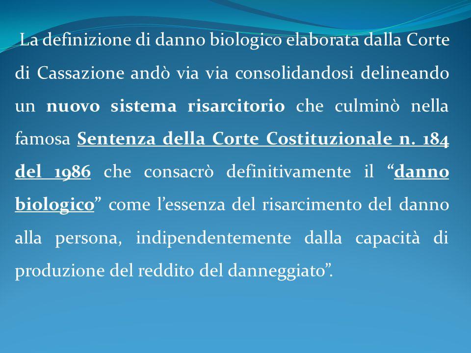 La definizione di danno biologico elaborata dalla Corte di Cassazione andò via via consolidandosi delineando un nuovo sistema risarcitorio che culminò