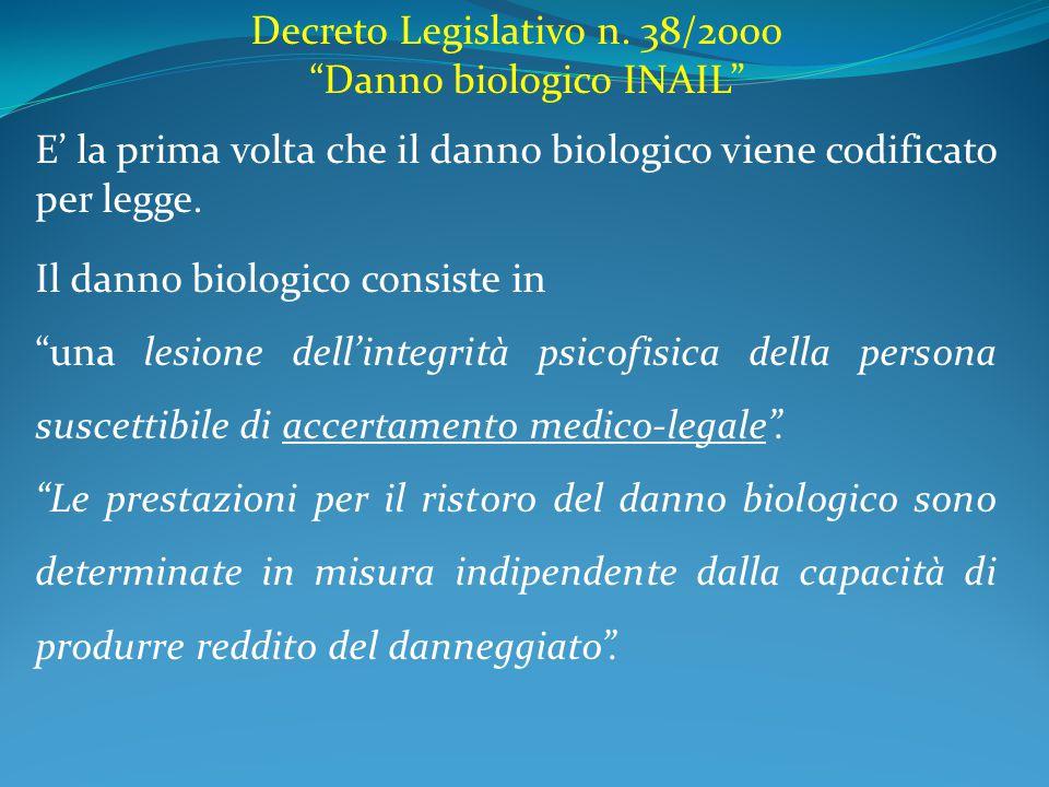 """Decreto Legislativo n. 38/2000 """"Danno biologico INAIL"""" E' la prima volta che il danno biologico viene codificato per legge. Il danno biologico consist"""