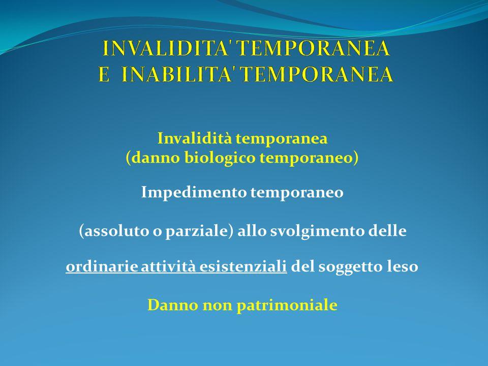 Invalidità temporanea (danno biologico temporaneo) Impedimento temporaneo (assoluto o parziale) allo svolgimento delle ordinarie attività esistenziali