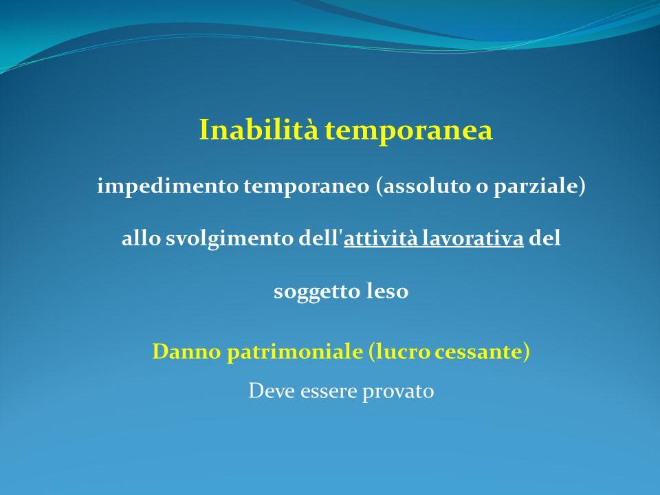 Inabilità temporanea impedimento temporaneo (assoluto o parziale) allo svolgimento dell'attività lavorativa del soggetto leso Danno patrimoniale (lucr