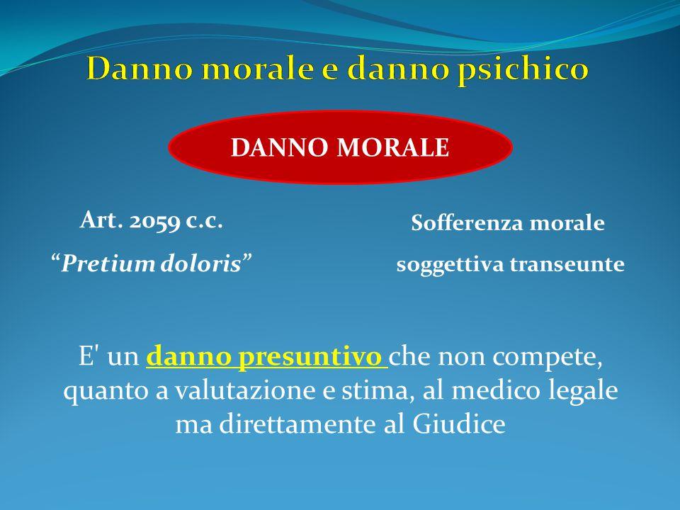 """DANNO MORALE Art. 2059 c.c. """"Pretium doloris"""" E' un danno presuntivo che non compete, quanto a valutazione e stima, al medico legale ma direttamente a"""