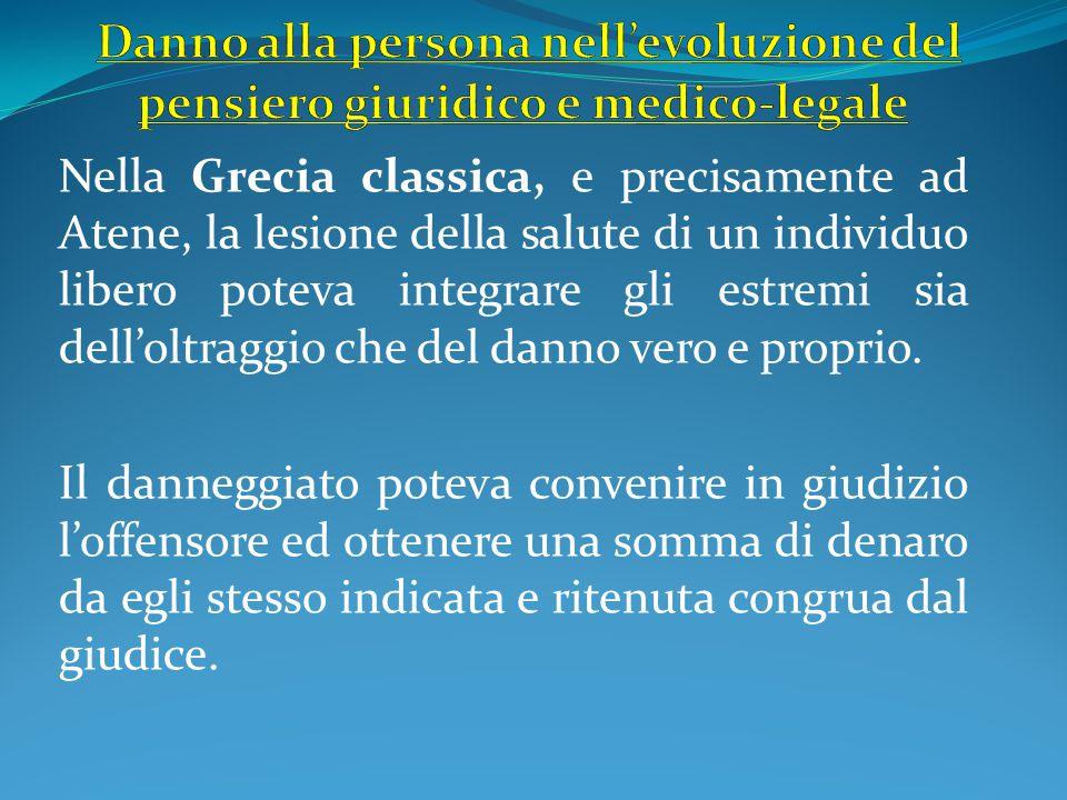 Nella Grecia classica, e precisamente ad Atene, la lesione della salute di un individuo libero poteva integrare gli estremi sia dell'oltraggio che del