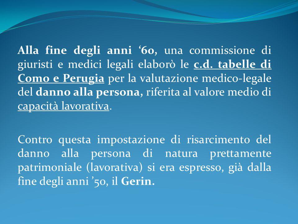 Alla fine degli anni '60, una commissione di giuristi e medici legali elaborò le c.d. tabelle di Como e Perugia per la valutazione medico-legale del d