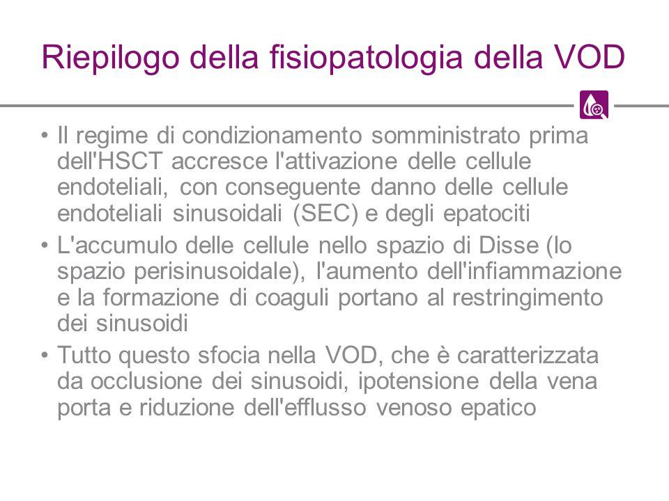 Riepilogo della fisiopatologia della VOD Il regime di condizionamento somministrato prima dell'HSCT accresce l'attivazione delle cellule endoteliali,