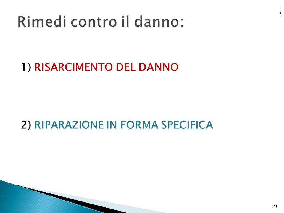 1) RISARCIMENTO DEL DANNO 2) RIPARAZIONE IN FORMA SPECIFICA 23
