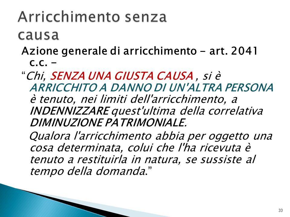 Azione generale di arricchimento - art.2041 c.c.
