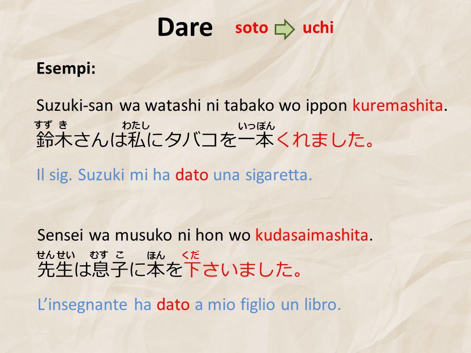 Dare Esempi: 鈴木さんは私にタバコを一本くれました。 Suzuki-san wa watashi ni tabako wo ippon kuremashita.