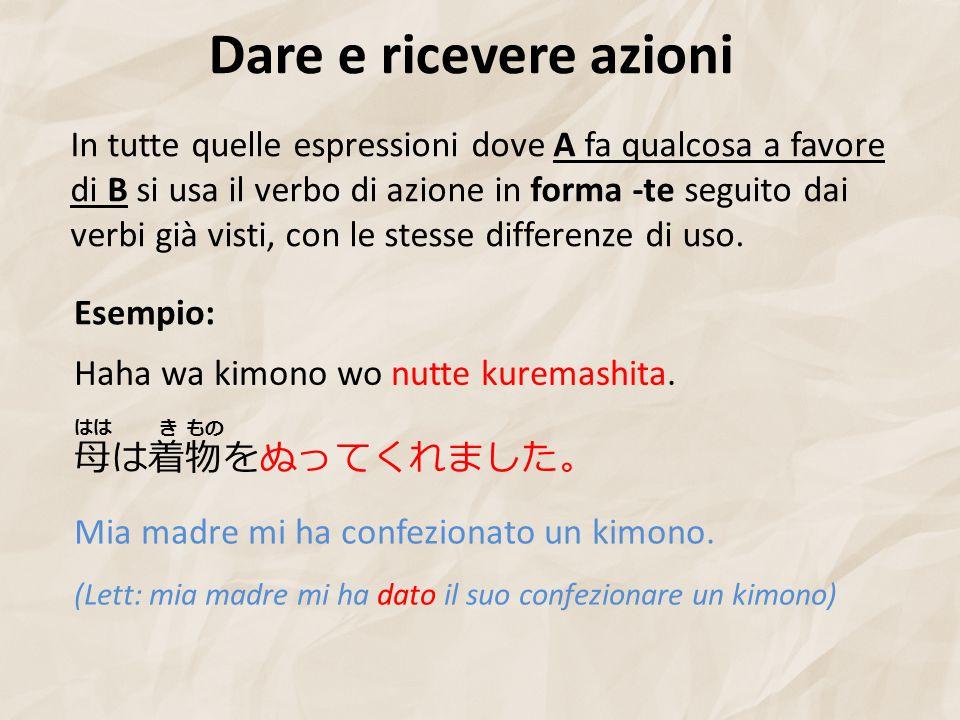 Dare e ricevere azioni Esempio: 母は着物をぬってくれました。 Haha wa kimono wo nutte kuremashita.