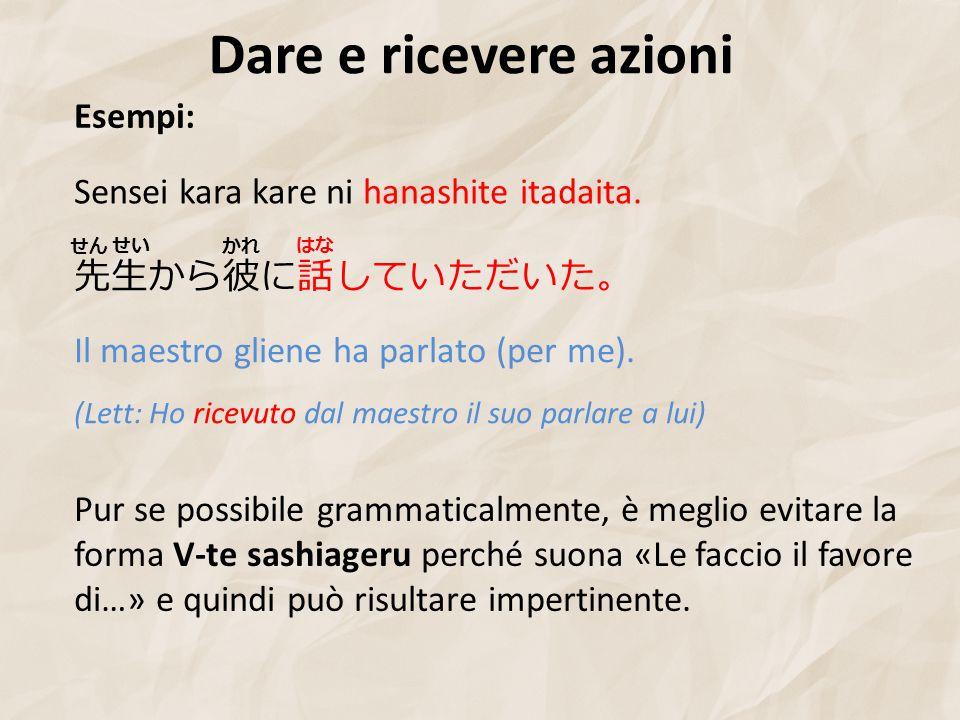 Dare e ricevere azioni Esempi: 先生から彼に話していただいた。 Sensei kara kare ni hanashite itadaita.