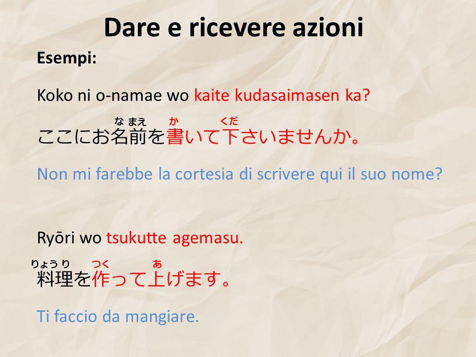 Dare e ricevere azioni Esempi: ここにお名前を書いて下さいませんか。 Koko ni o-namae wo kaite kudasaimasen ka.