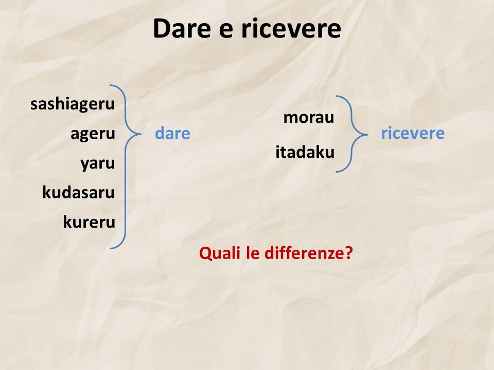 Dare e ricevere agerudare kureru yaru sashiageru kudasaru itadaku ricevere morau Quali le differenze?