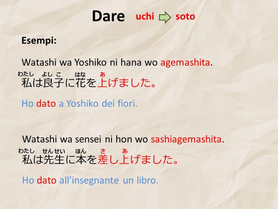 Dare Esempi: 私は良子に花を上げました。 Watashi wa Yoshiko ni hana wo agemashita.