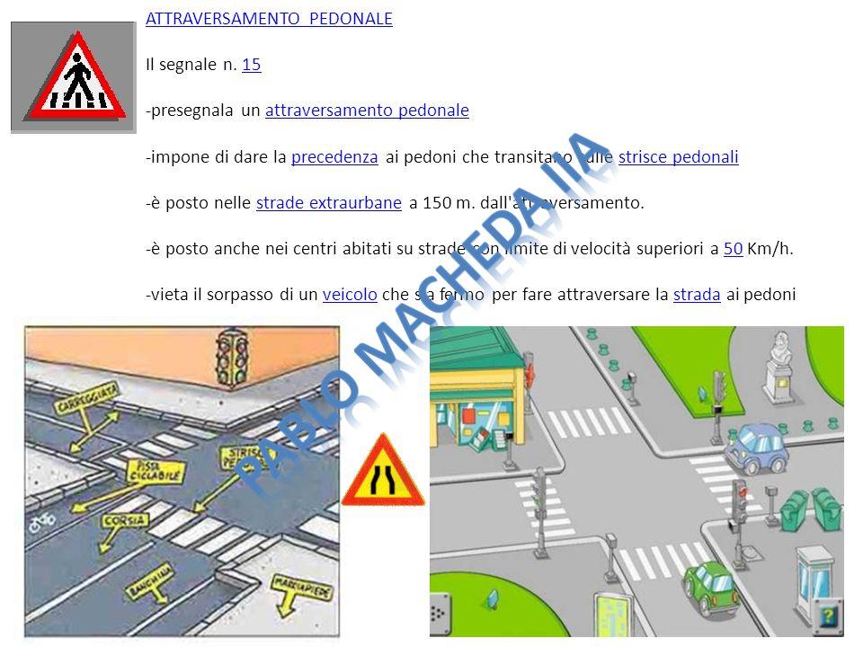 ATTRAVERSAMENTO PEDONALEATTRAVERSAMENTO PEDONALE Il segnale n. 15 -presegnala un attraversamento pedonale -impone di dare la precedenza ai pedoni che