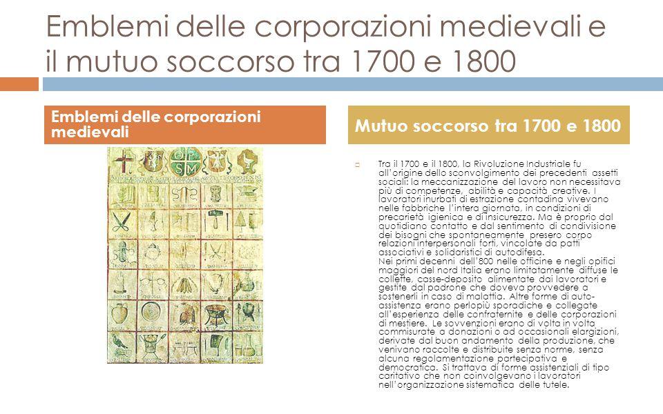 Emblemi delle corporazioni medievali e il mutuo soccorso tra 1700 e 1800  Tra il 1700 e il 1800, la Rivoluzione Industriale fu all'origine dello scon
