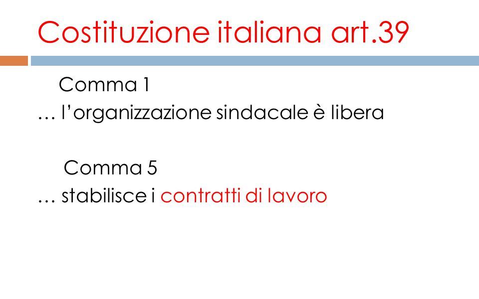 Costituzione italiana art.39 Comma 1 … l'organizzazione sindacale è libera Comma 5 … stabilisce i contratti di lavoro