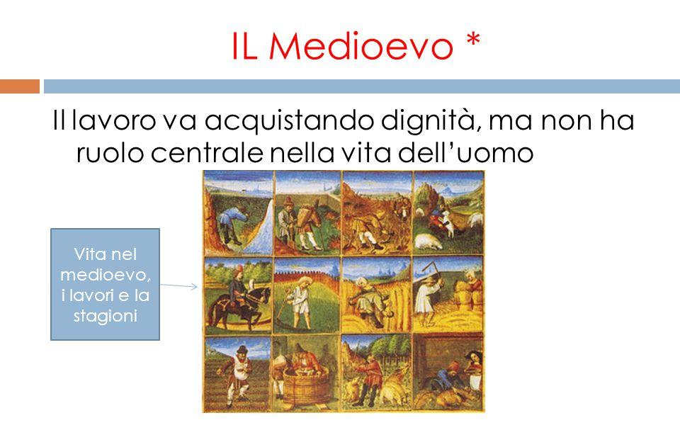 IL Medioevo * Il lavoro va acquistando dignità, ma non ha ruolo centrale nella vita dell'uomo Vita nel medioevo, i lavori e la stagioni