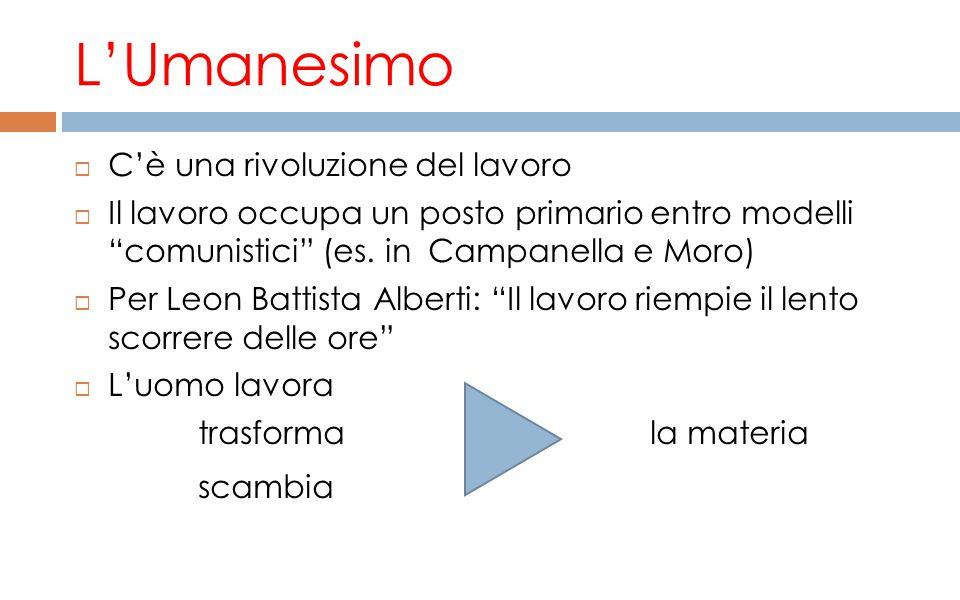 """L'Umanesimo  C'è una rivoluzione del lavoro  Il lavoro occupa un posto primario entro modelli """"comunistici"""" (es. in Campanella e Moro)  Per Leon Ba"""