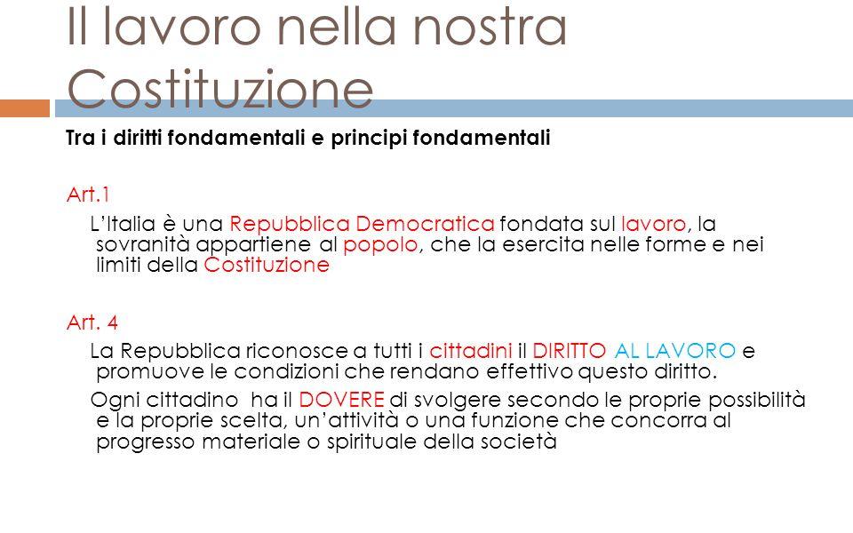 Il lavoro nella nostra Costituzione Tra i diritti fondamentali e principi fondamentali Art.1 L'Italia è una Repubblica Democratica fondata sul lavoro,