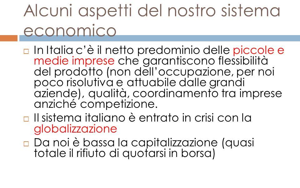Alcuni aspetti del nostro sistema economico  In Italia c'è il netto predominio delle piccole e medie imprese che garantiscono flessibilità del prodot