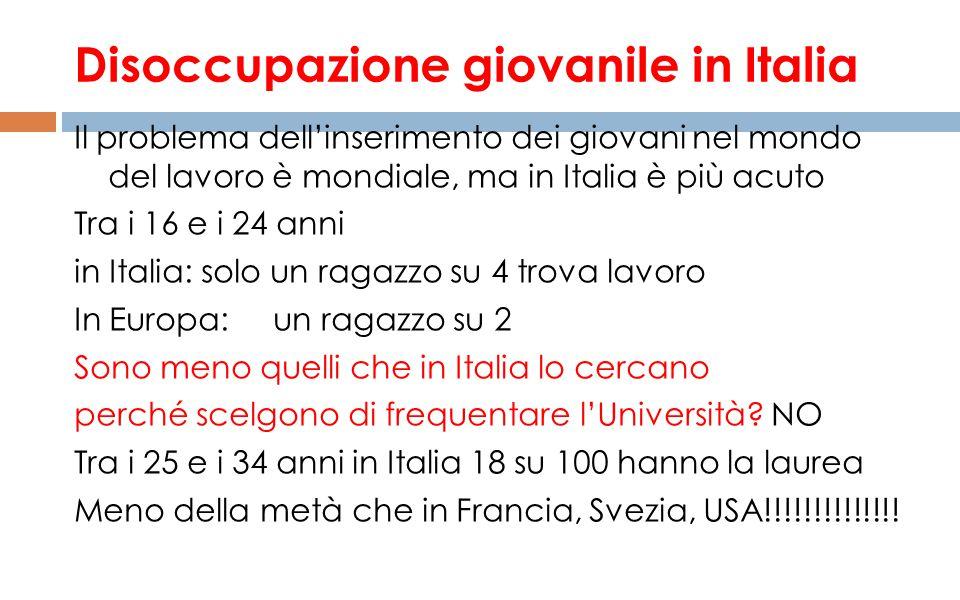 Disoccupazione giovanile in Italia Il problema dell'inserimento dei giovani nel mondo del lavoro è mondiale, ma in Italia è più acuto Tra i 16 e i 24