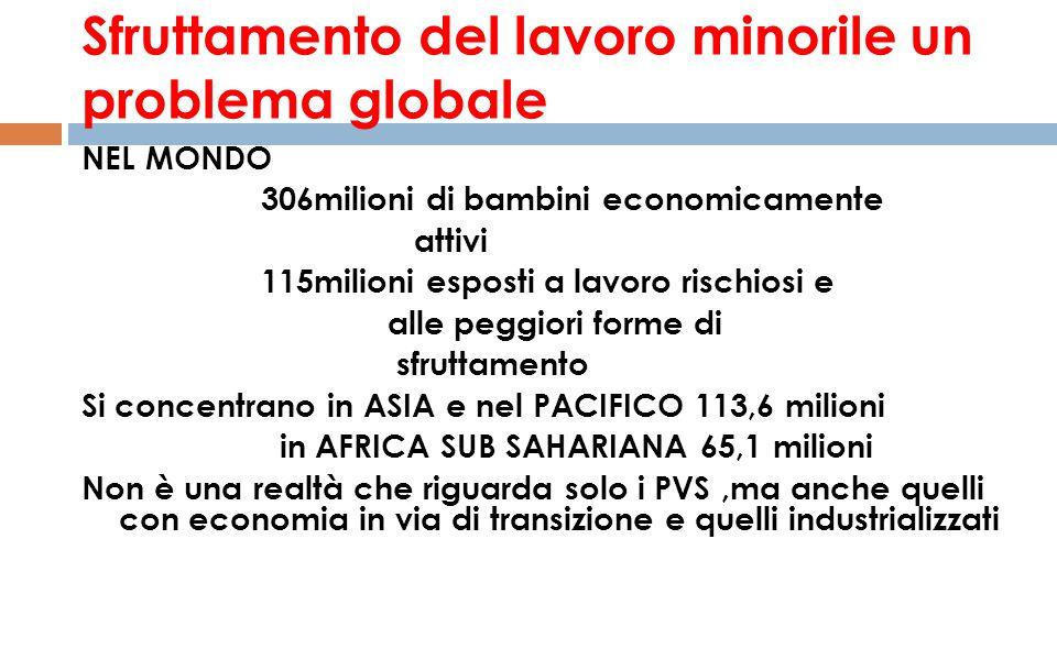 Sfruttamento del lavoro minorile un problema globale NEL MONDO 306milioni di bambini economicamente attivi 115milioni esposti a lavoro rischiosi e all