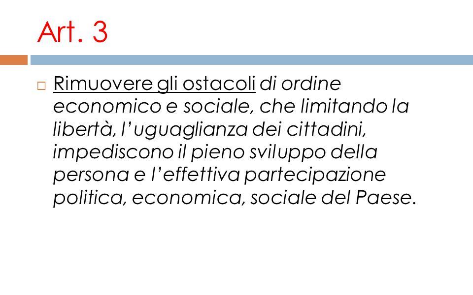Art. 3  Rimuovere gli ostacoli di ordine economico e sociale, che limitando la libertà, l'uguaglianza dei cittadini, impediscono il pieno sviluppo de