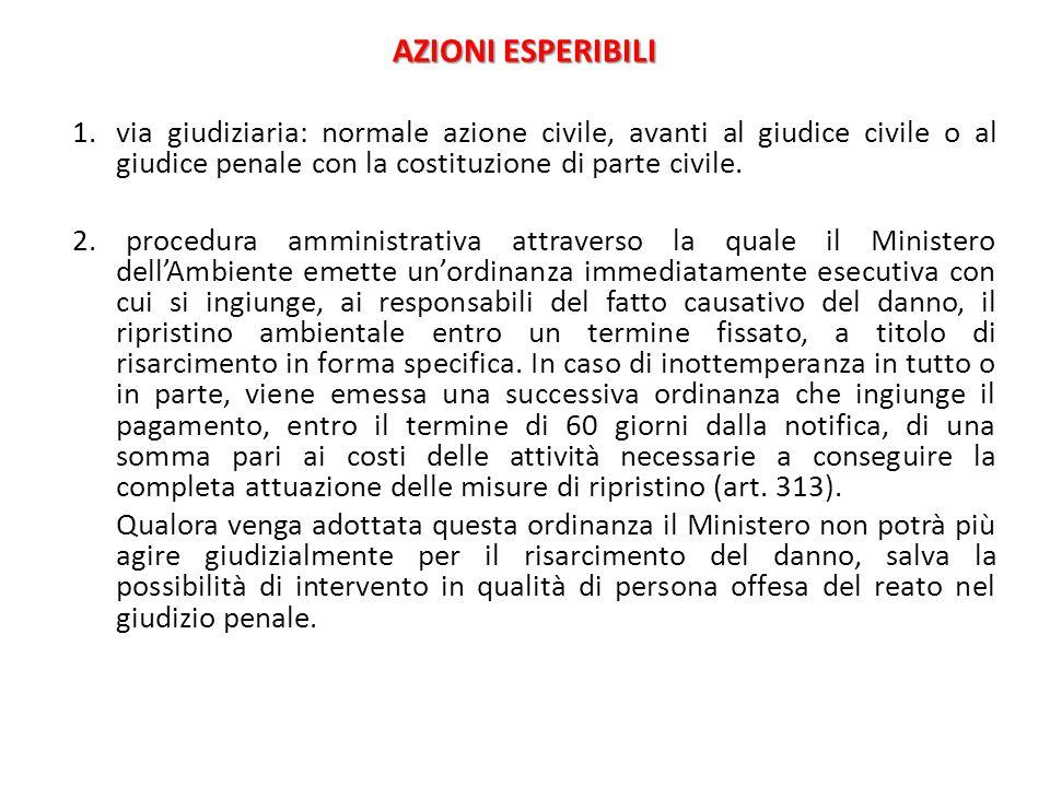 AZIONI ESPERIBILI 1.via giudiziaria: normale azione civile, avanti al giudice civile o al giudice penale con la costituzione di parte civile. 2. proce