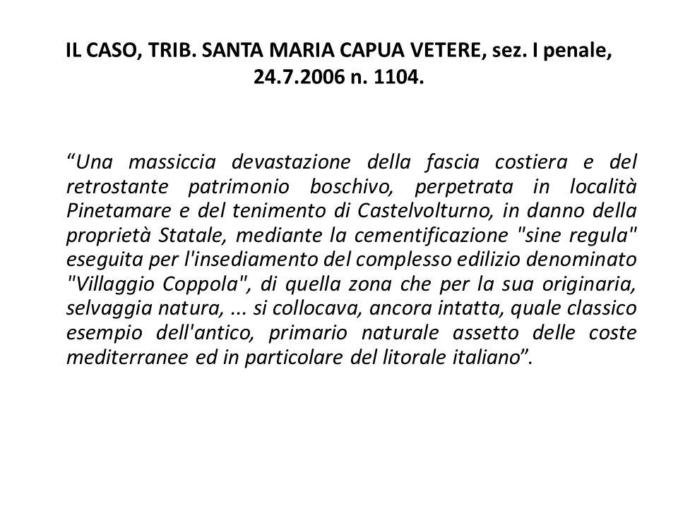 """IL CASO, TRIB. SANTA MARIA CAPUA VETERE, sez. I penale, 24.7.2006 n. 1104. """"Una massiccia devastazione della fascia costiera e del retrostante patrimo"""