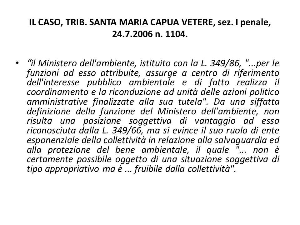 """IL CASO, TRIB. SANTA MARIA CAPUA VETERE, sez. I penale, 24.7.2006 n. 1104. """"il Ministero dell'ambiente, istituito con la L. 349/86,"""