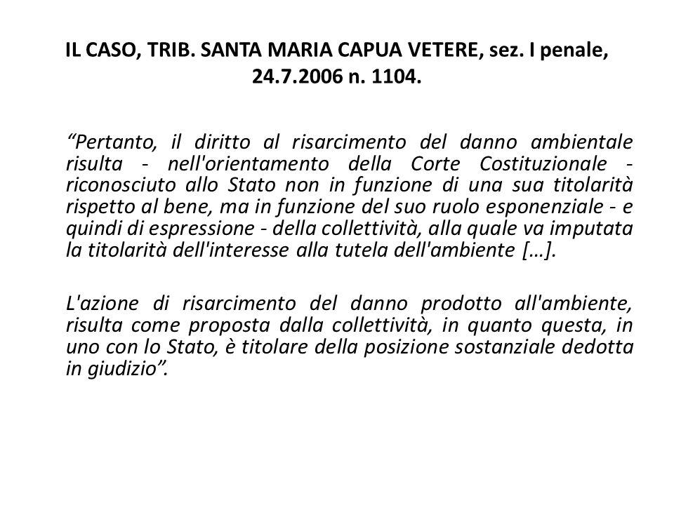 """IL CASO, TRIB. SANTA MARIA CAPUA VETERE, sez. I penale, 24.7.2006 n. 1104. """"Pertanto, il diritto al risarcimento del danno ambientale risulta - nell'o"""