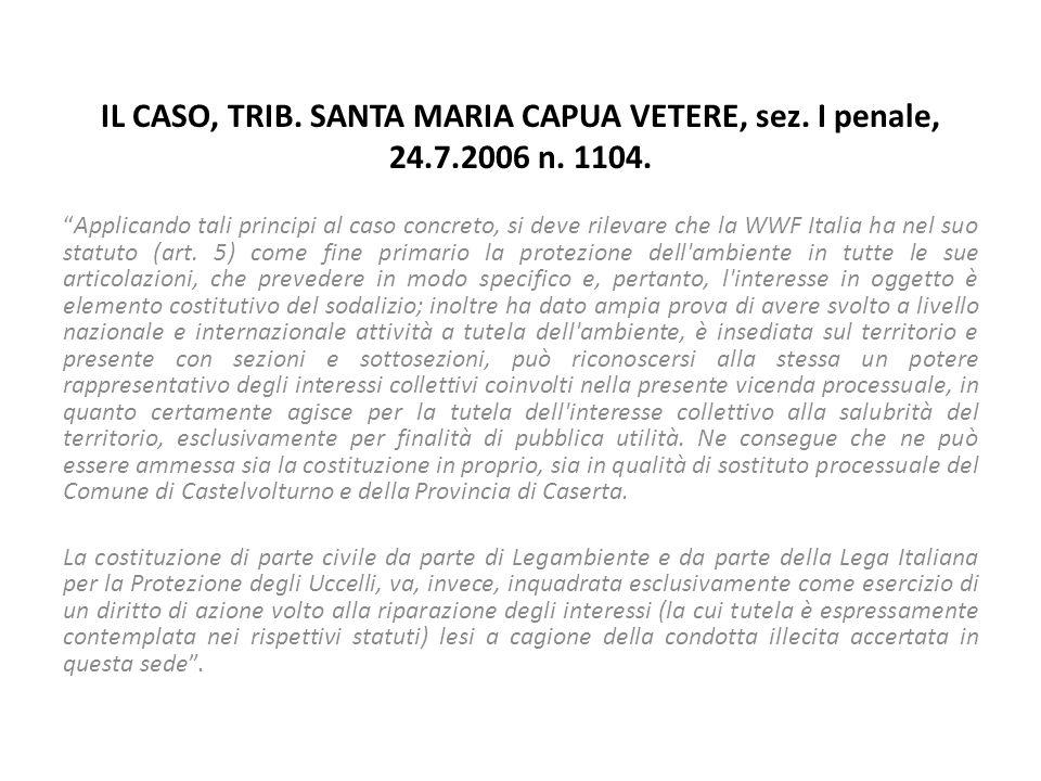 """IL CASO, TRIB. SANTA MARIA CAPUA VETERE, sez. I penale, 24.7.2006 n. 1104. """"Applicando tali principi al caso concreto, si deve rilevare che la WWF Ita"""