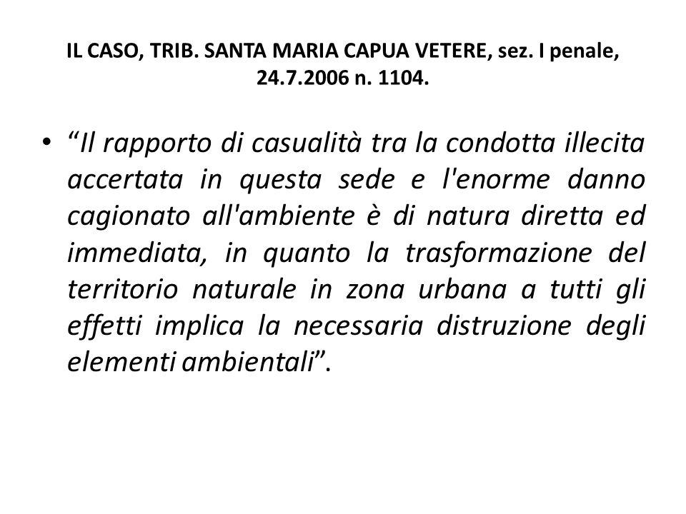 """IL CASO, TRIB. SANTA MARIA CAPUA VETERE, sez. I penale, 24.7.2006 n. 1104. """"Il rapporto di casualità tra la condotta illecita accertata in questa sede"""
