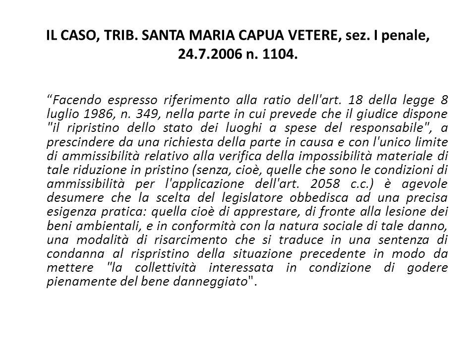 """IL CASO, TRIB. SANTA MARIA CAPUA VETERE, sez. I penale, 24.7.2006 n. 1104. """"Facendo espresso riferimento alla ratio dell'art. 18 della legge 8 luglio"""