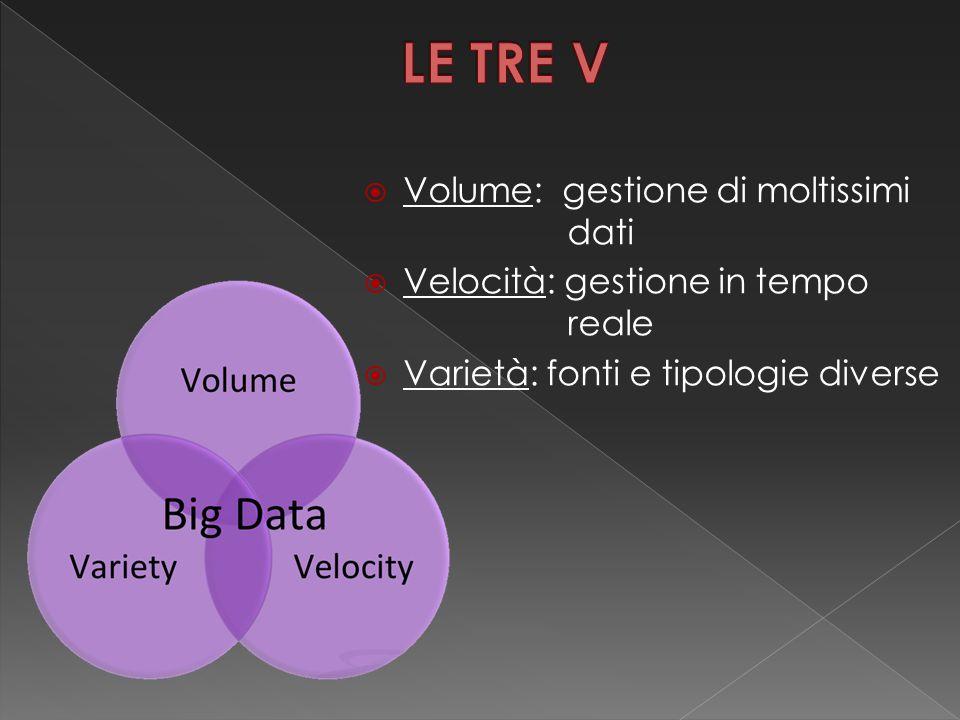  Volume: gestione di moltissimi dati  Velocità: gestione in tempo reale  Varietà: fonti e tipologie diverse