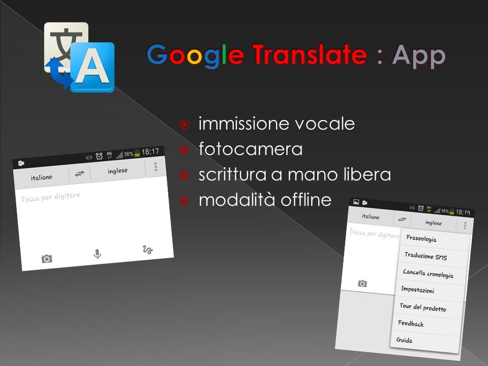  immissione vocale  fotocamera  scrittura a mano libera  modalità offline