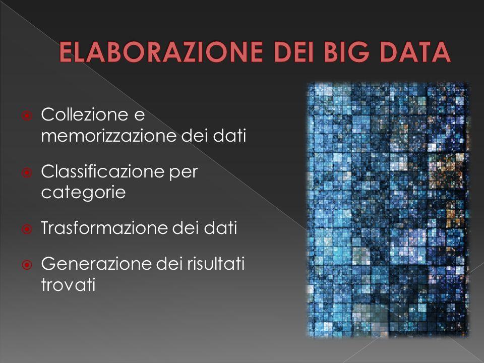  Collezione e memorizzazione dei dati  Classificazione per categorie  Trasformazione dei dati  Generazione dei risultati trovati