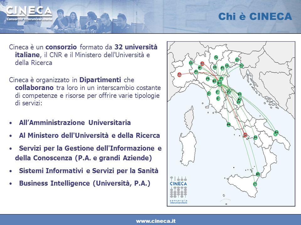 www.cineca.it Chi è CINECA Cineca è un consorzio formato da 32 università italiane, il CNR e il Ministero dell'Università e della Ricerca Cineca è org