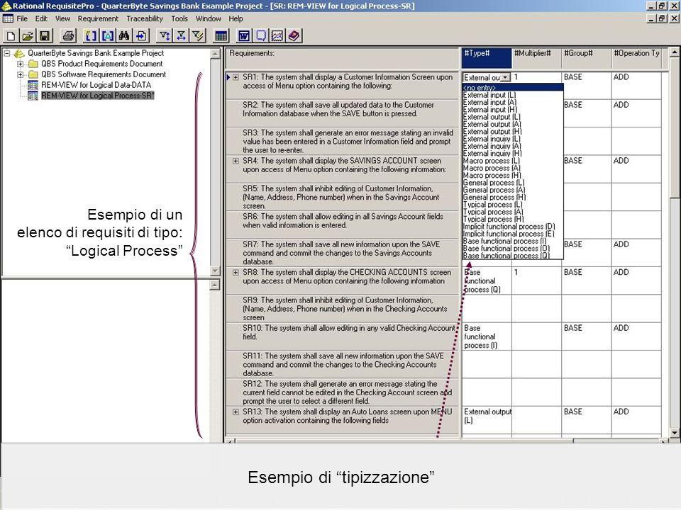Data Processing Organization srl – www.dpo.it © 2004-2005www.dpo.it Esempio di tipizzazione Esempio di un elenco di requisiti di tipo: Logical Process