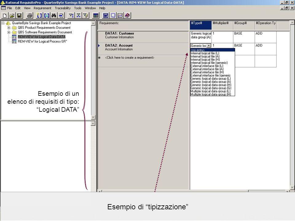 Data Processing Organization srl – www.dpo.it © 2004-2005www.dpo.it Esempio di un elenco di requisiti di tipo: Logical DATA Esempio di tipizzazione