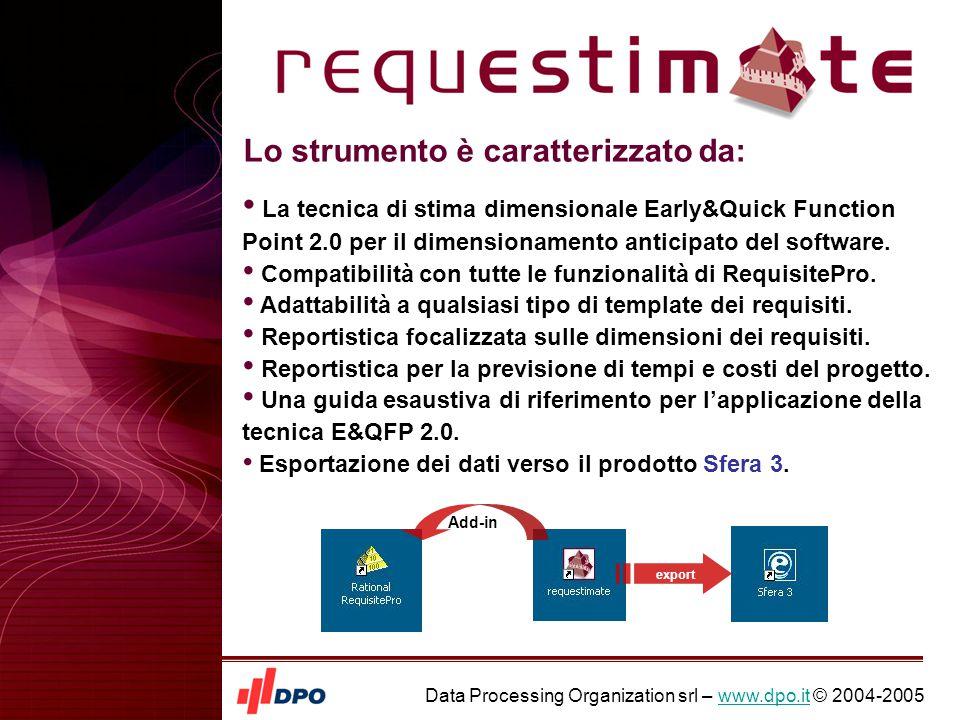 Data Processing Organization srl – www.dpo.it © 2004-2005www.dpo.it requestimate è un add-in di RequisitePro richiamabile dal menu alla voce Tools .
