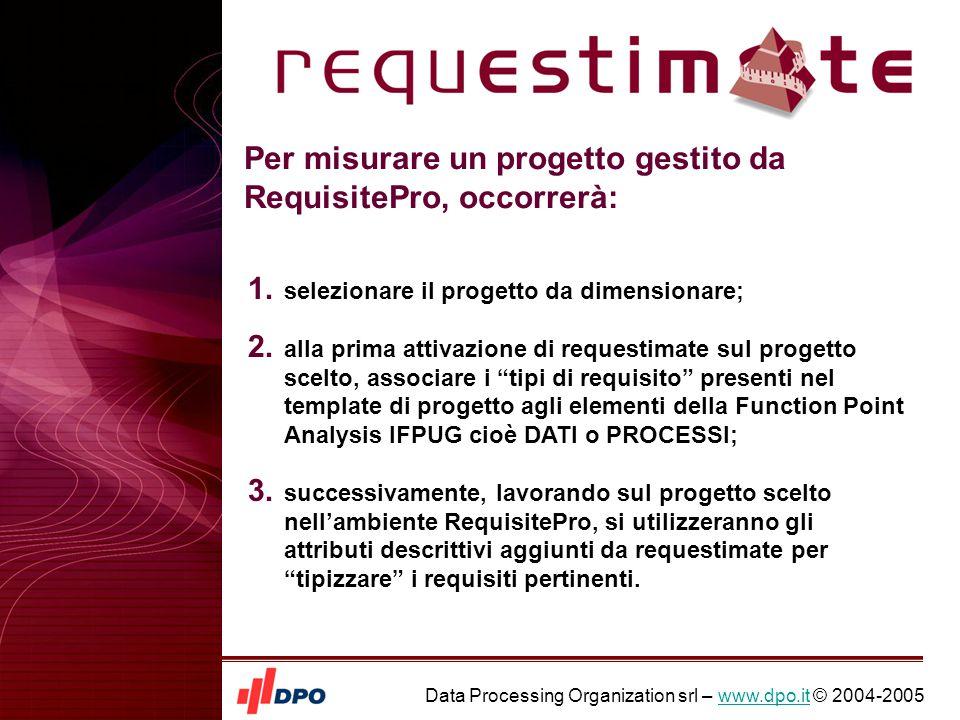 Data Processing Organization srl – www.dpo.it © 2004-2005www.dpo.it Per misurare un progetto gestito da RequisitePro, occorrerà: 1.