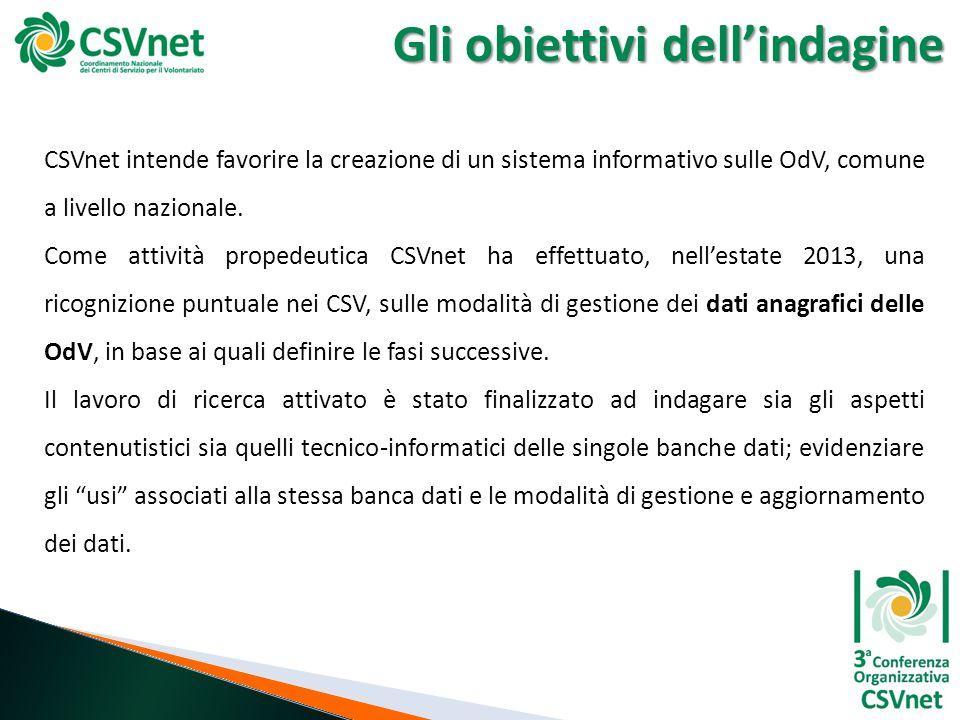 Gli obiettivi dell'indagine CSVnet intende favorire la creazione di un sistema informativo sulle OdV, comune a livello nazionale. Come attività proped