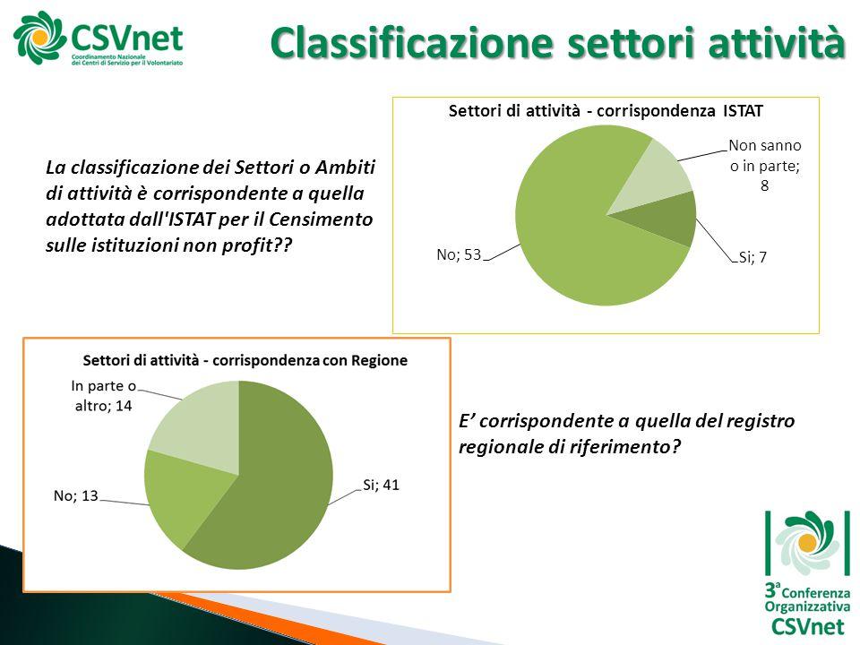 Classificazione settori attività La classificazione dei Settori o Ambiti di attività è corrispondente a quella adottata dall ISTAT per il Censimento sulle istituzioni non profit .