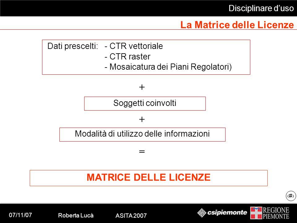 07/11/07 Roberta Lucà ASITA 2007 Disciplinare d'uso 17 La Matrice delle Licenze Dati prescelti:- CTR vettoriale - CTR raster - Mosaicatura dei Piani R