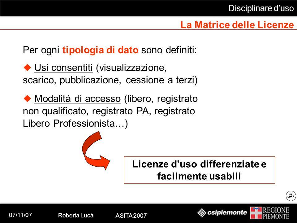 07/11/07 Roberta Lucà ASITA 2007 Disciplinare d'uso 19 La Matrice delle Licenze Per ogni tipologia di dato sono definiti:  Usi consentiti (visualizza