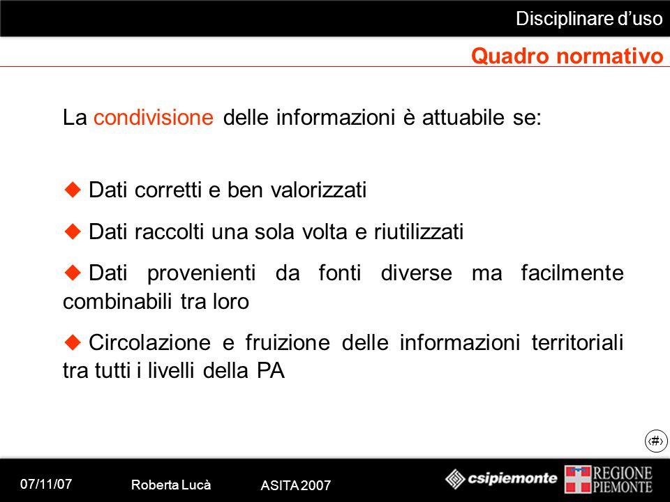 07/11/07 Roberta Lucà ASITA 2007 Disciplinare d'uso 7 Quadro normativo La condivisione delle informazioni è attuabile se:  Dati corretti e ben valori