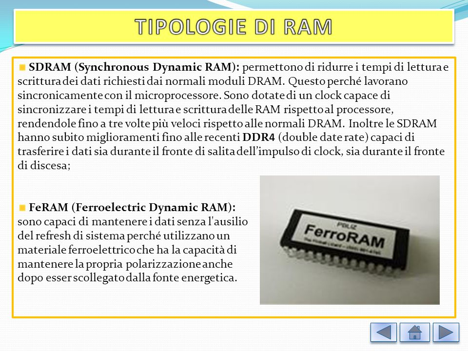 SDRAM (Synchronous Dynamic RAM): permettono di ridurre i tempi di lettura e scrittura dei dati richiesti dai normali moduli DRAM.