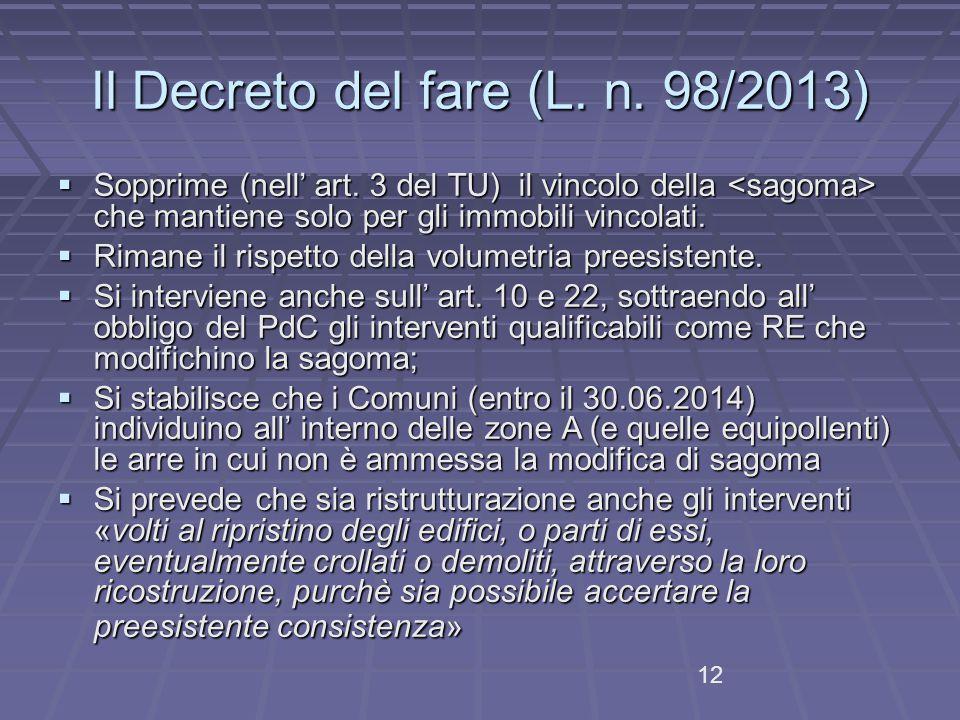 12 Il Decreto del fare (L.n. 98/2013)  Sopprime (nell' art.