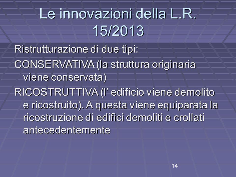 Le innovazioni della L.R.