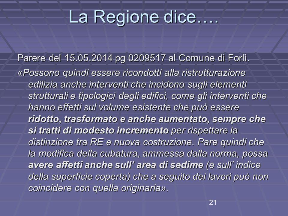 La Regione dice….Parere del 15.05.2014 pg 0209517 al Comune di Forlì.